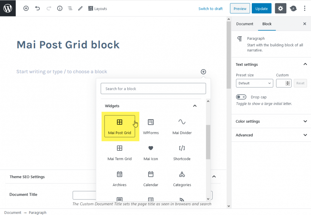Select the post grid block, NOT the term grid block.