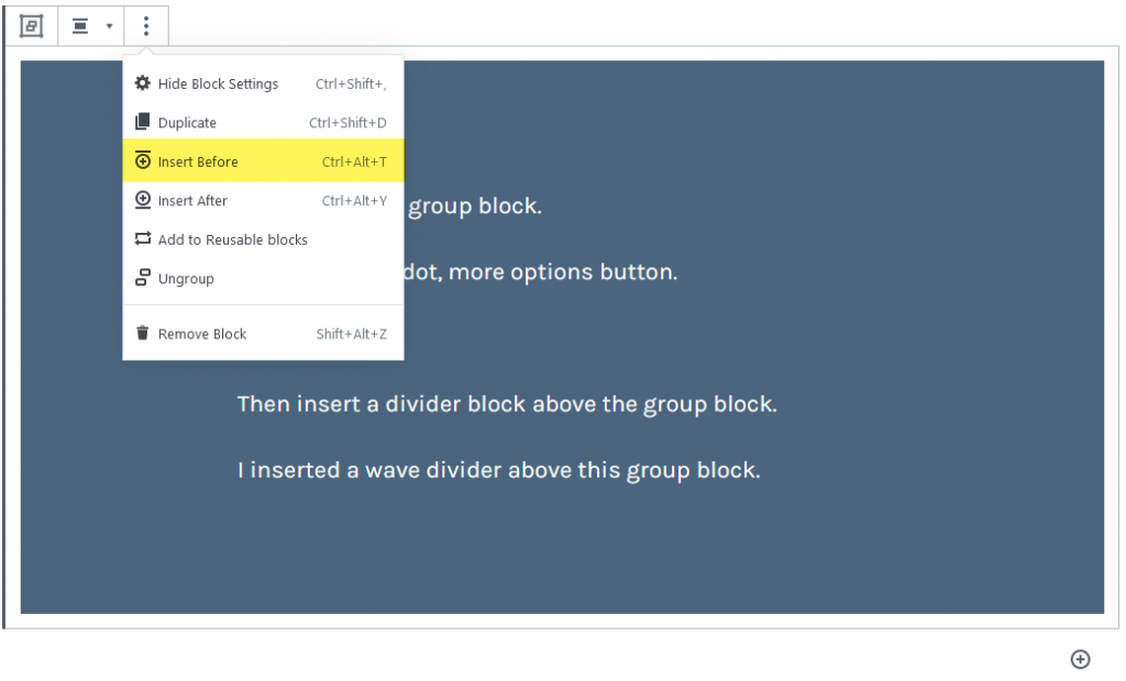 Inserting a block before the group block.