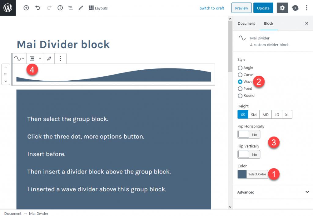 Mai Divider block settings.