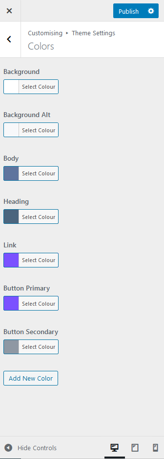 Mai Reach theme color settings.