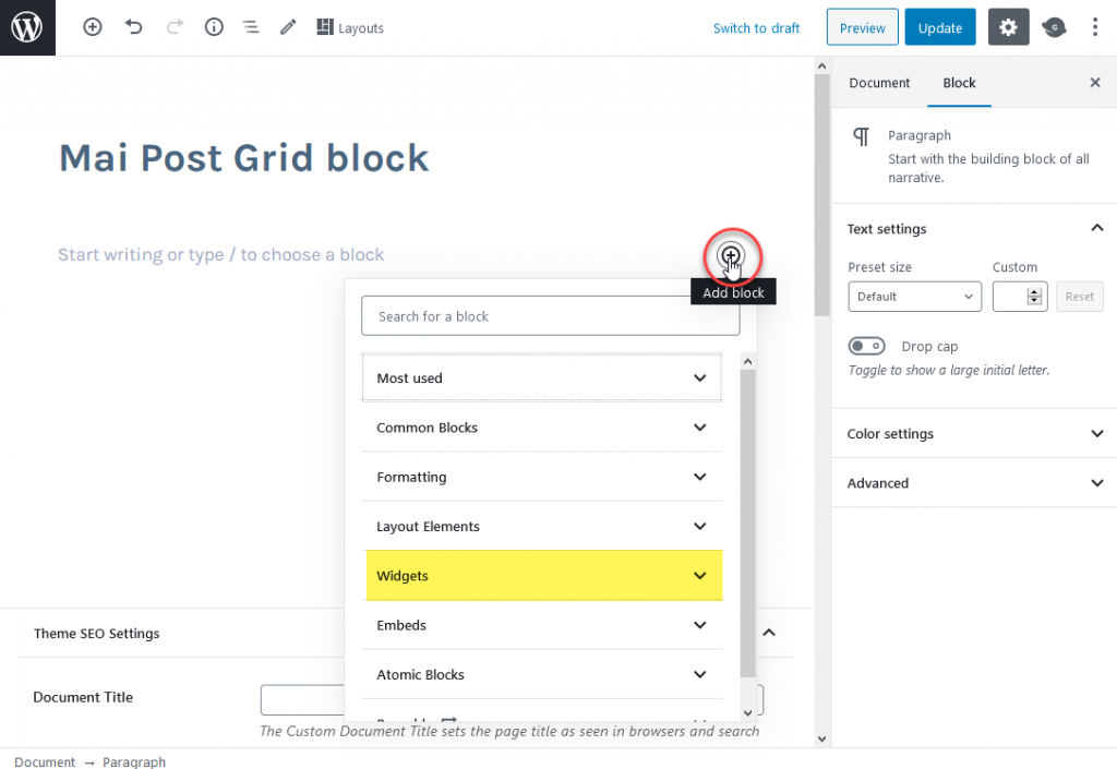 The post grid block is in the widgets section of the add block dialogue.