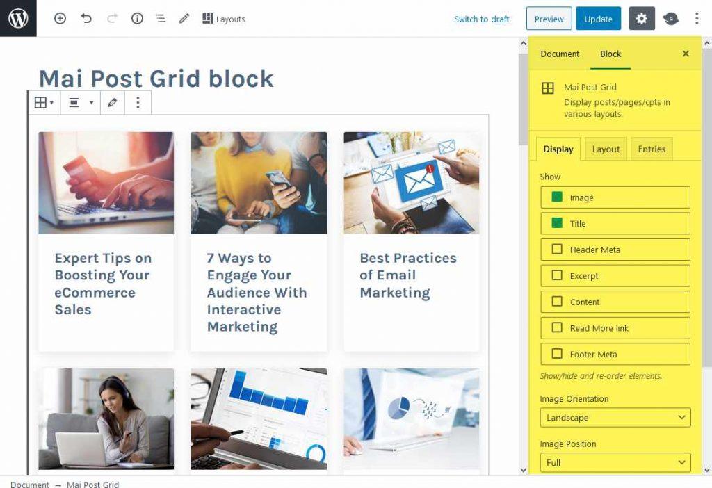 Mai Post Grid block settings are in the right hand block settings sidebar.
